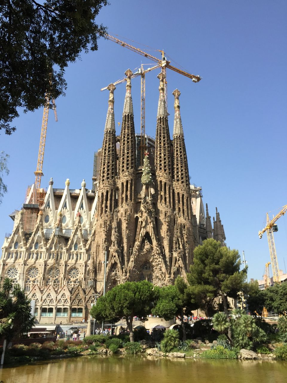 Exterior of Gaudi's Sagrada Familia in Barcelona, Spain. Construction and repairs are ongoing.