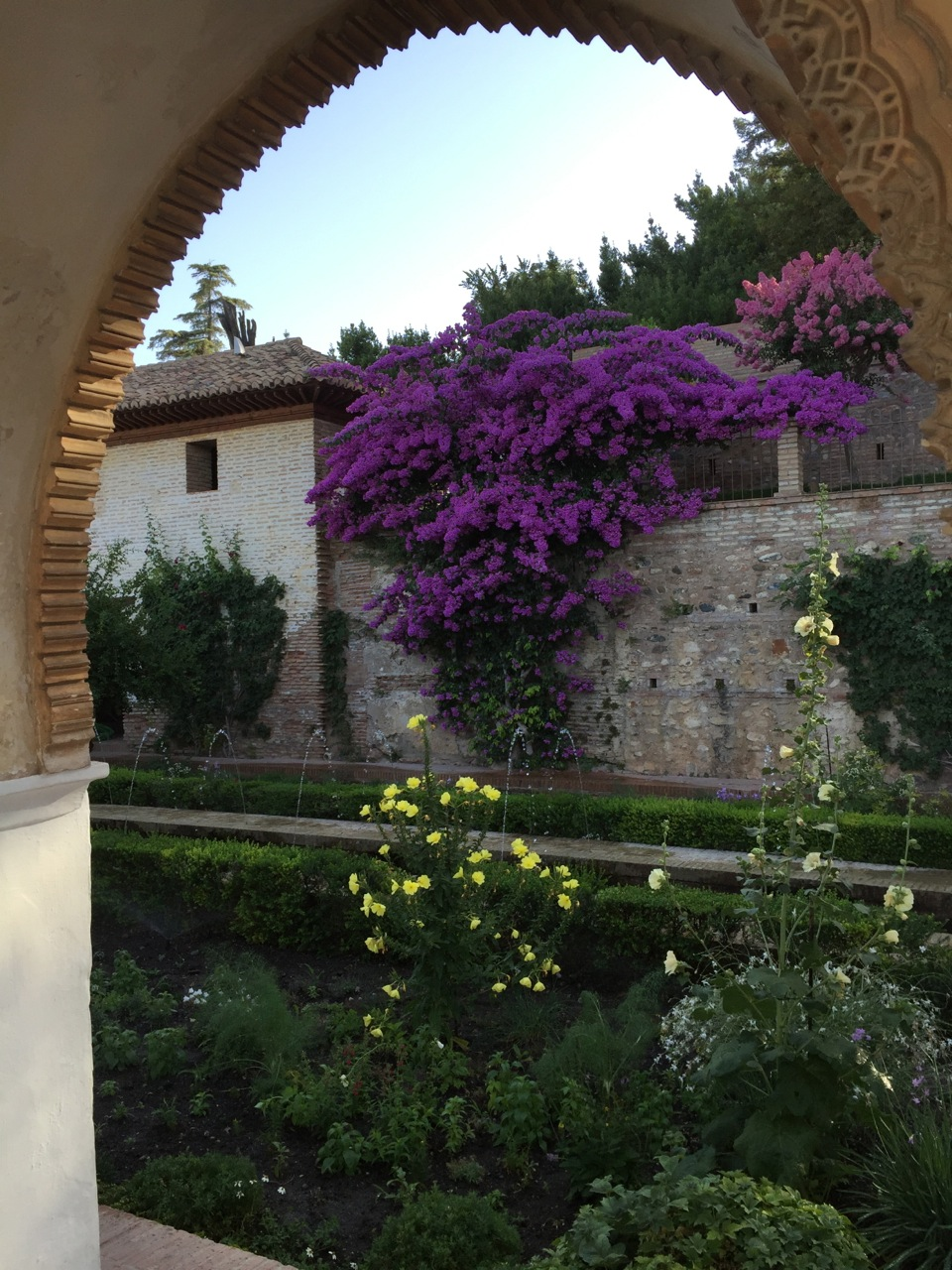 A view of the gardens at the Generaliffe, at the Alhambra in Granada