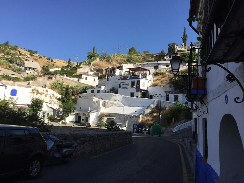 The Sacromonte is now a center of gitano culture and flamenco. The buildings in this photo are venues for flamenco music performances in Granada.