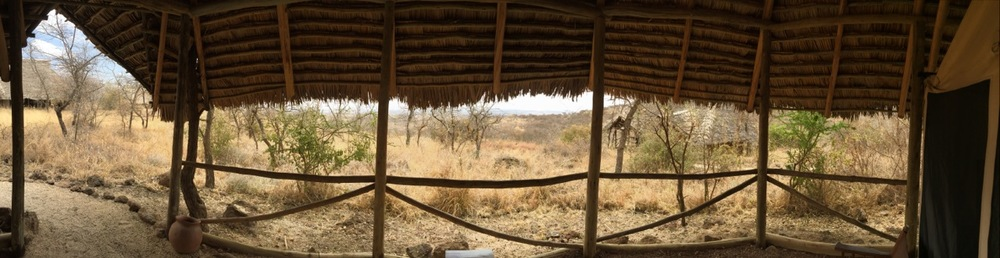 Looking out over the Kilimanjaro foothills from the front entrance of my lodge tent.