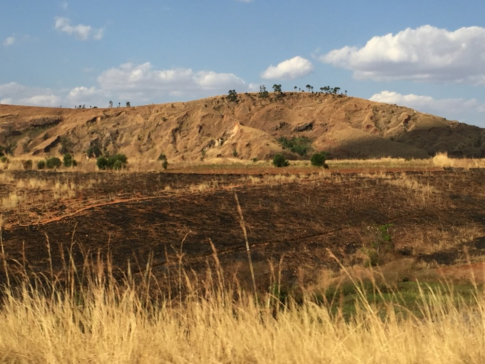 Only few spindly trees are visible on the ridges of these hills. Rural people are dependent on firewood for cooking and heating needs. Note the burned fields in the foreground.