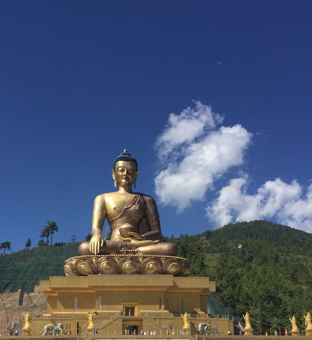 The 169 foot tall sitting Buddha statue overlooking Thimphu is the tallest sitting Buddha statue in the world. It was opened to the public just one month before our visit. Note the tiny specks at the bottom...tourists!