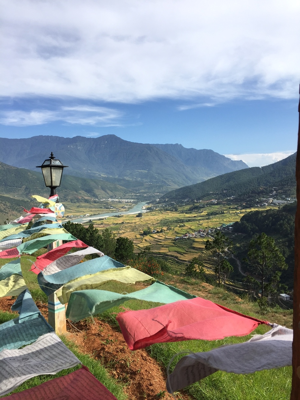 The view from the Buddhist nunnery on a mountain above Thimphu