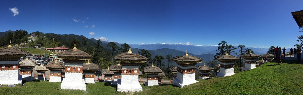 Panoramic view of the Himalayas on Bhutan's northern border from Dochula pass.