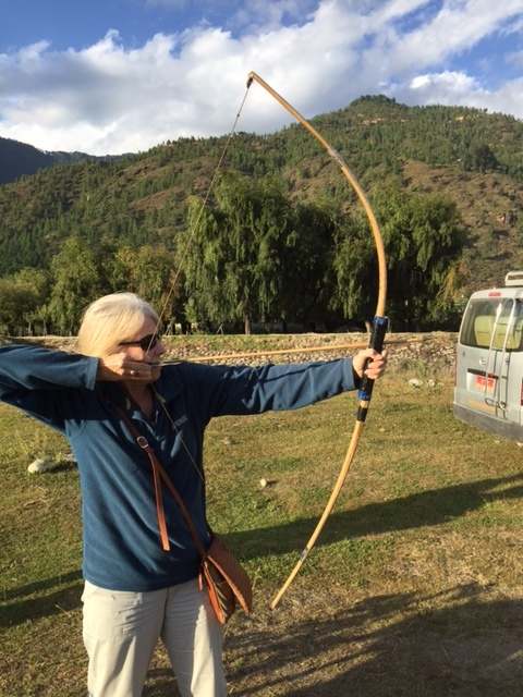 Me trying my hand at archery in the Paro Valley, Bhutan. Archery is Bhutan's national sport.