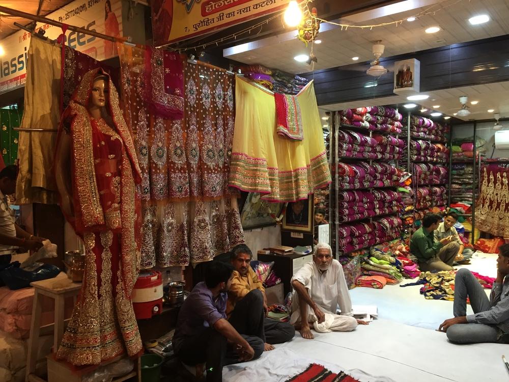Vendors waiting to make a deal at the Johari Bazaar in Jaipur.