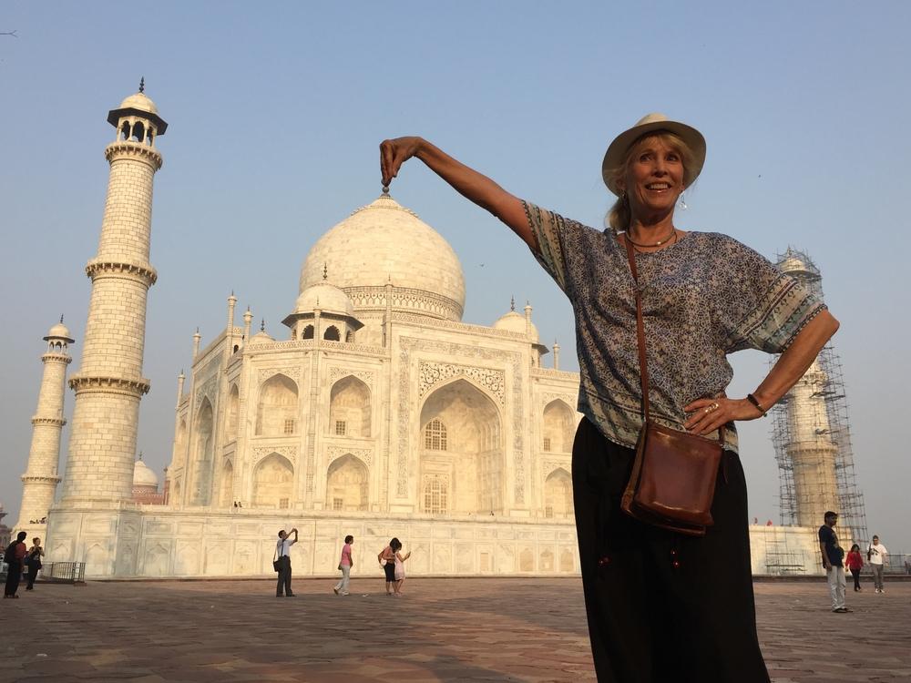 Me in my obligatory trick photo at the Taj Majal.