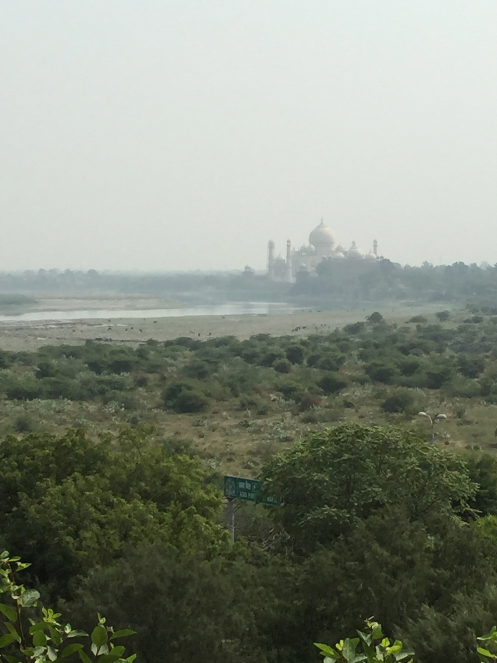 Taj Majal viewed through a typical blanket of smog.
