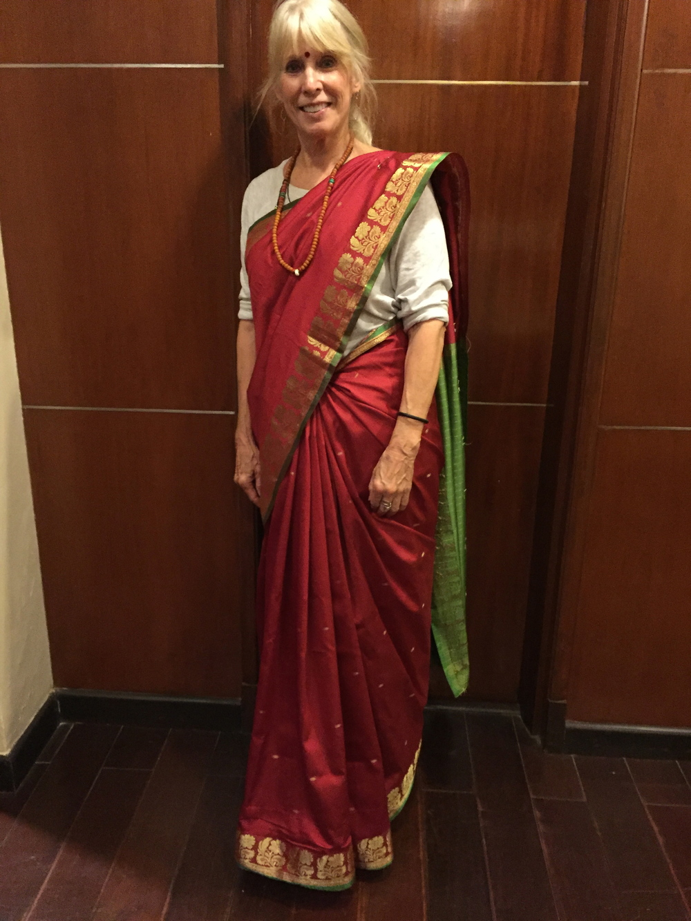 Me dressed in a sari on my last night in India, getting ready to attend a sitar concert.