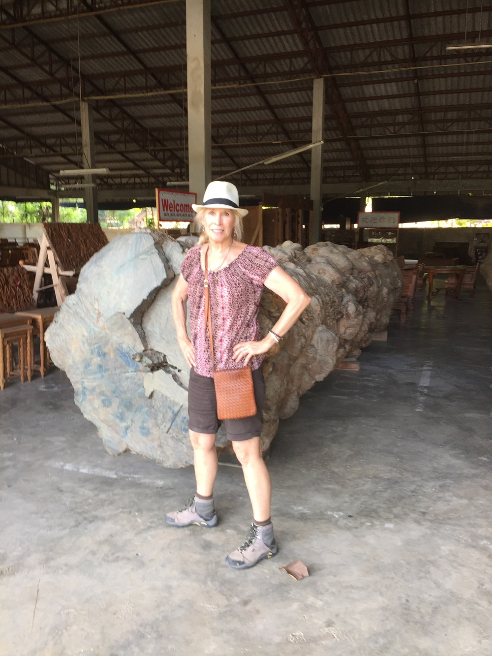 "Me next to an old growth teak tree on the floor of the teak furniture manufacturer's warehouse in Chang Mai. This will be used to make lawn furniture. Yet, the warehouse claims to make furniture only out of ""sustainably harvested"" teak."
