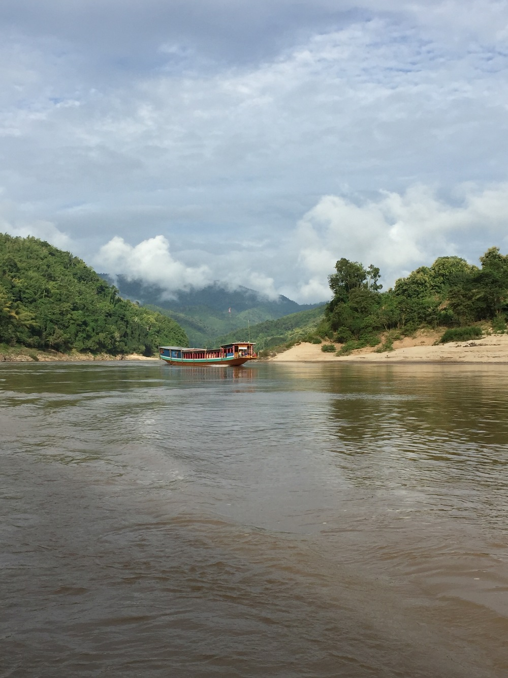 Sandy beaches along the Mekong River in Laos show the wide range in high water marks resulting from erratic water releases from dams upstream in China.
