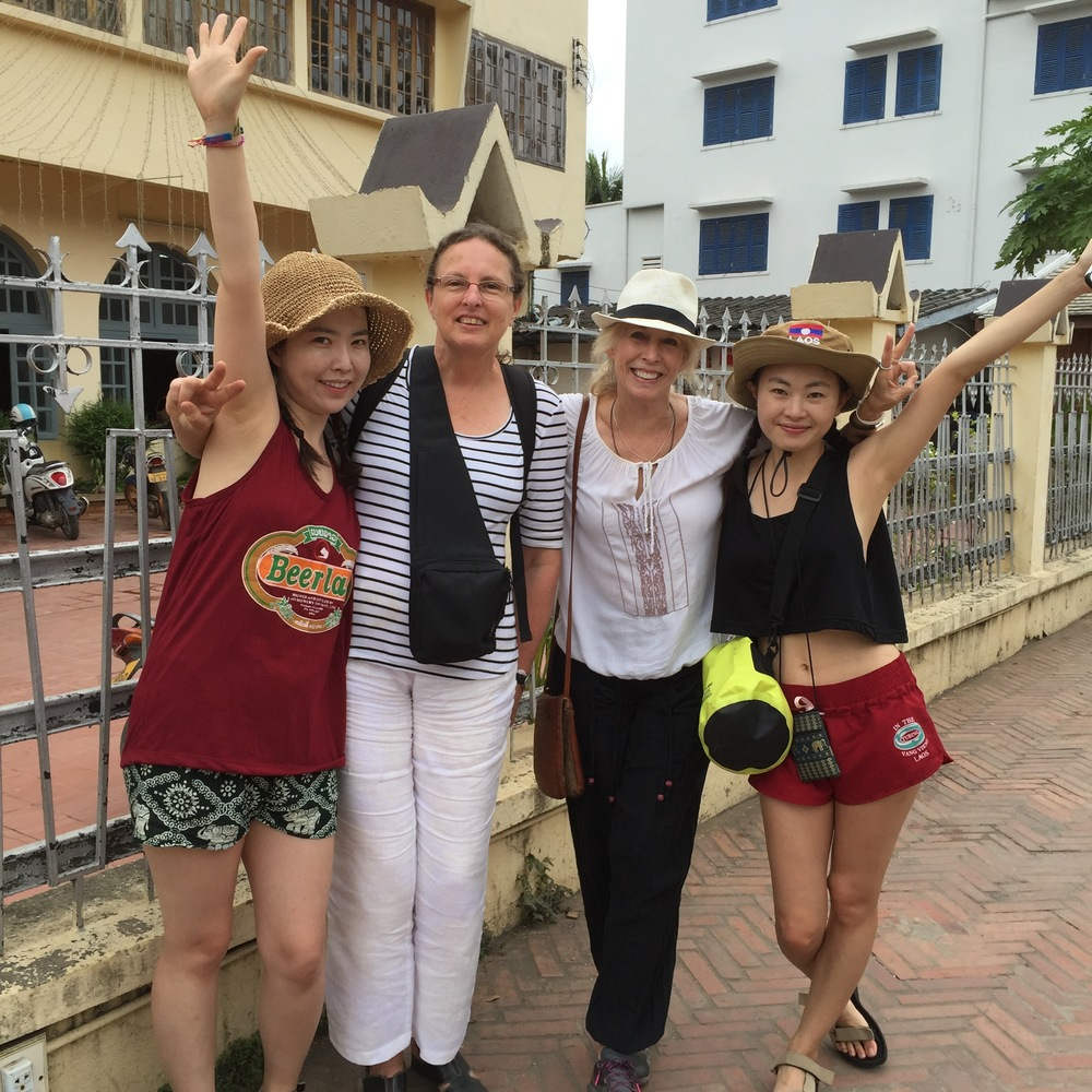 Happy times exploring Luang Prabang with travel buddies from Australia and China.