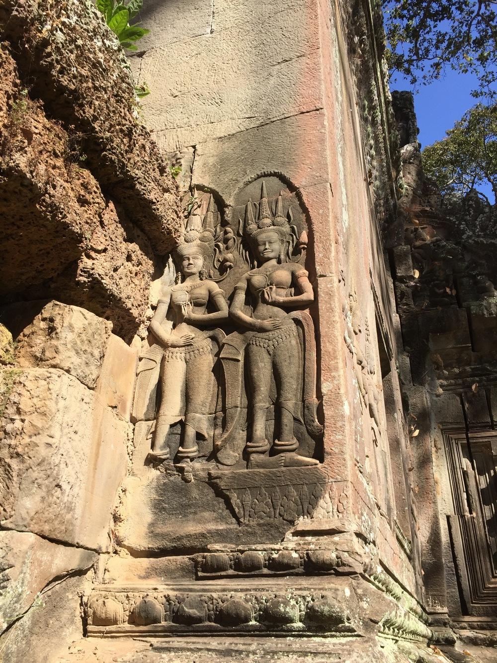 Exterior reliefs at Angkor Wat, Cambodia.