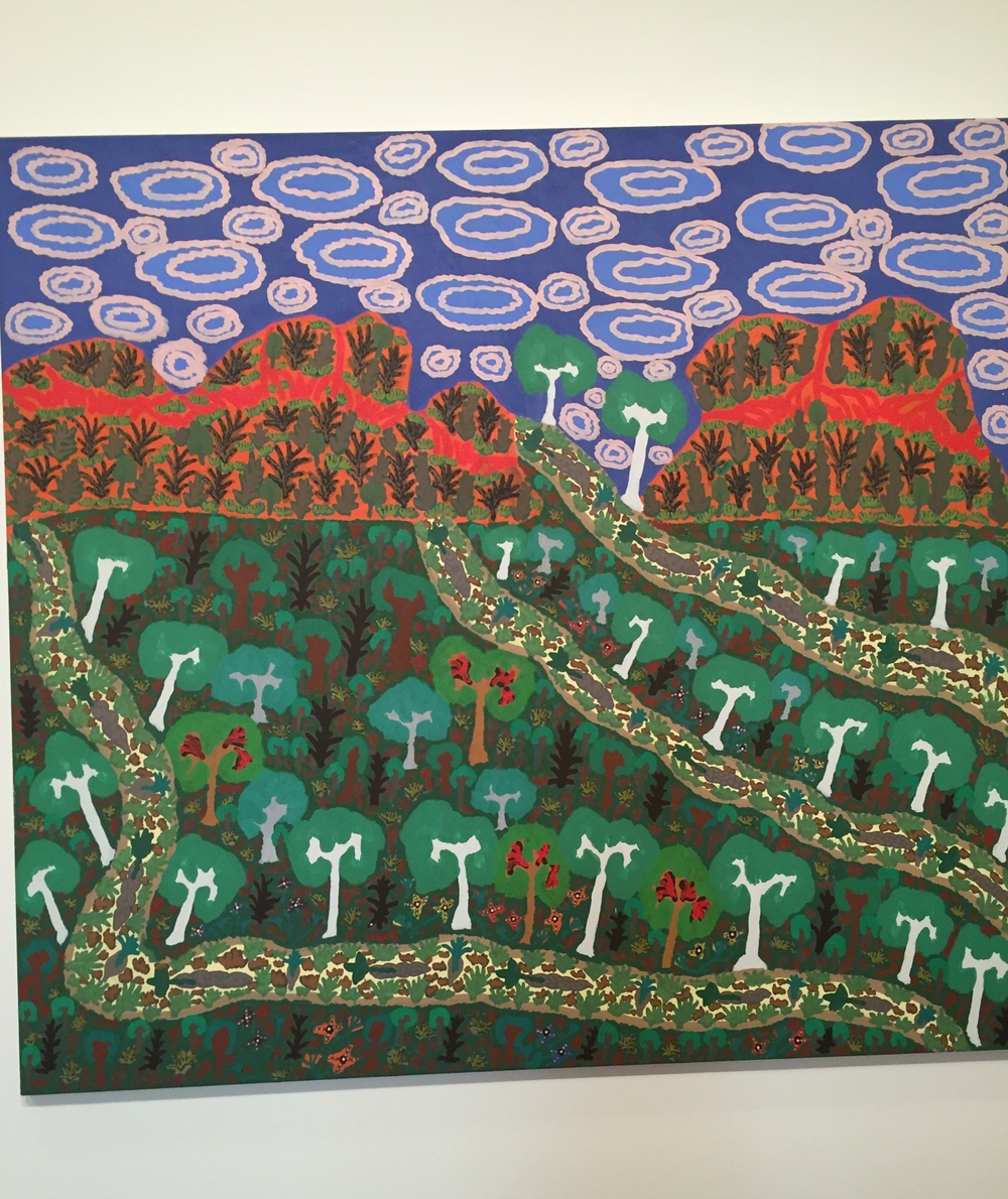 """Memory and Five Mile Creek,"" painting by Daisy Napaltjarri Jugadai, 1995. On display at the Ian Potter Gallery, NGV, Melbourne, Austraiia."