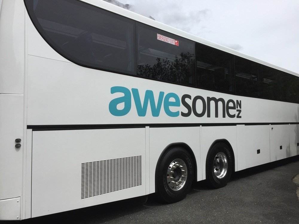 "My ""awesome"" bus that took me to totally awesome Milford Sound. How awesome is that?"