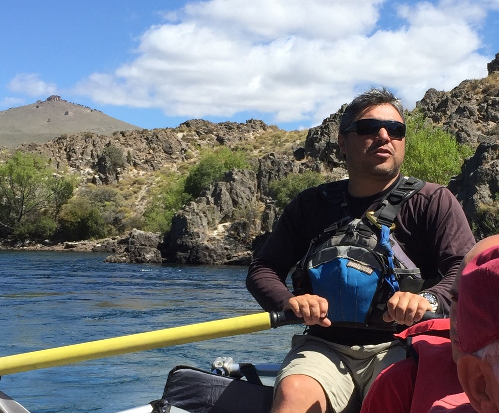 One of our hardworking river guides on the raft trip down the Limay River, which flows through the Patagonian steppe.