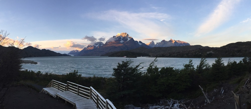 View of the peaks at sunset from the hotel in Torres de Paine National Park.