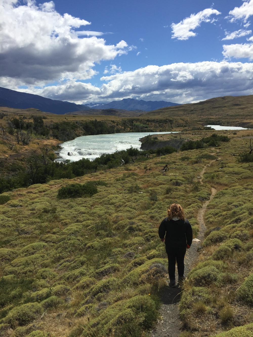 Approaching the Salto Grande waterfall in Torres del Paine National Park.