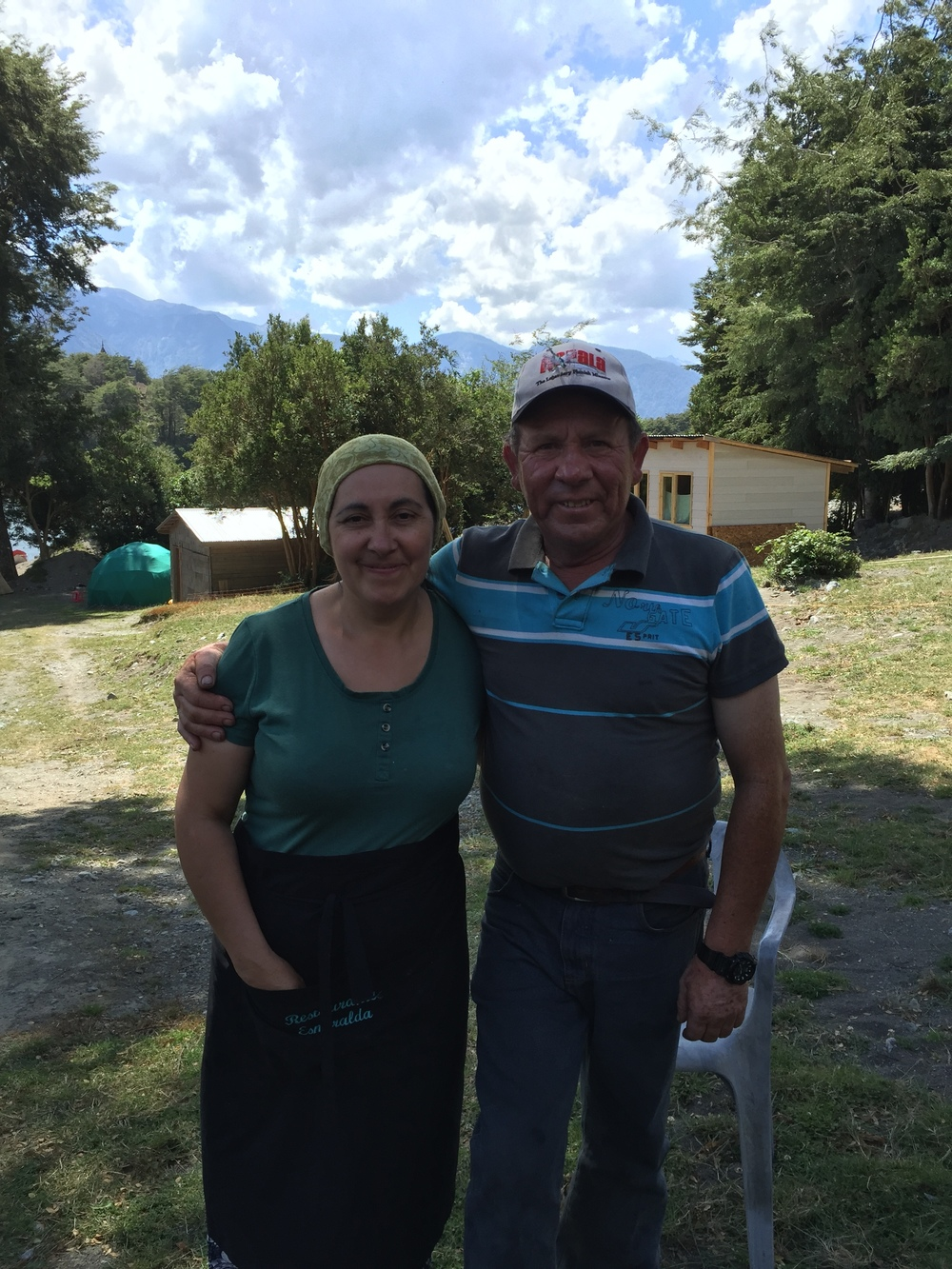 Our Chilean lunch hosts on their campground inside Vicente Pérez Rosales National Park .