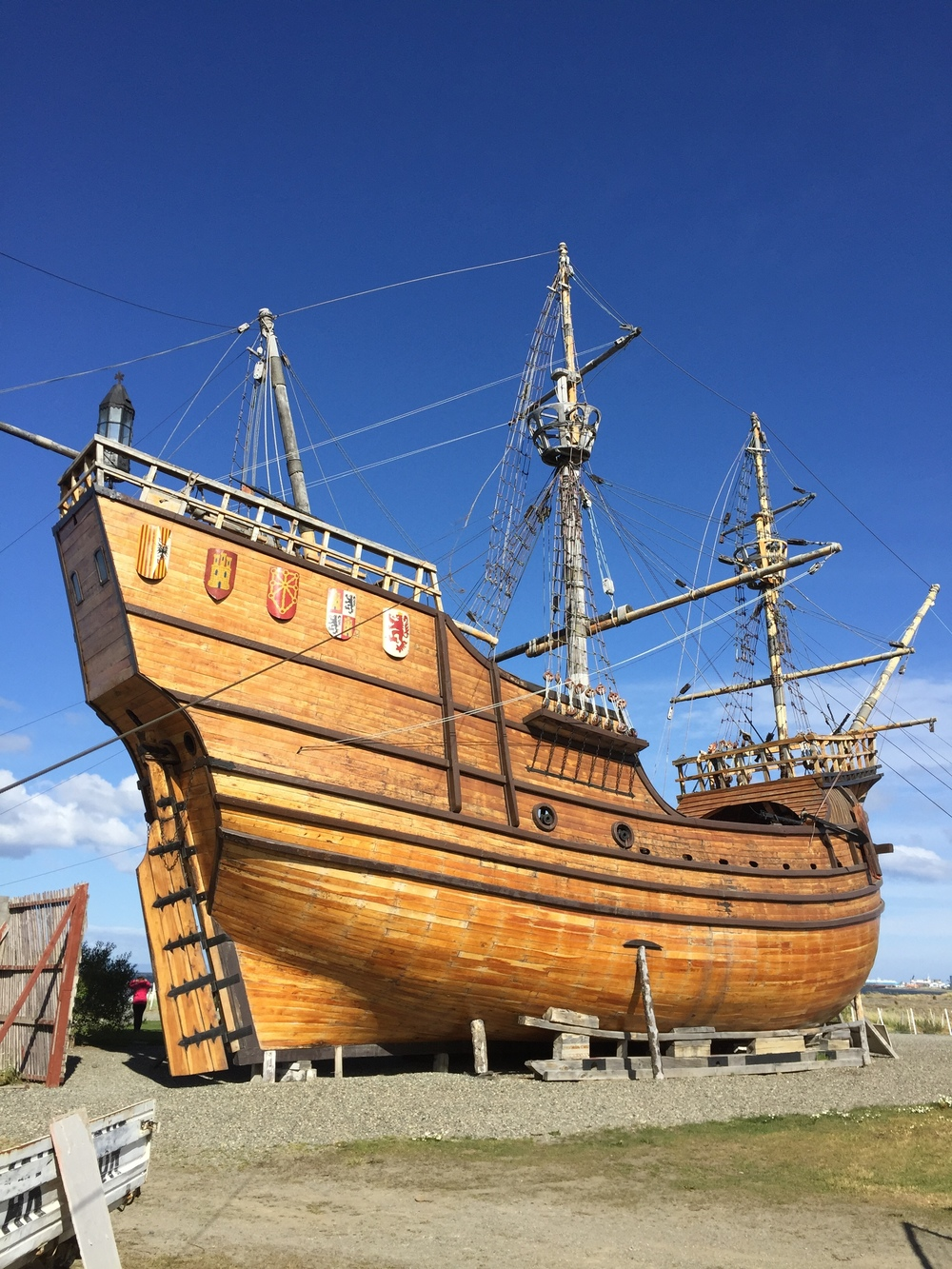 Replica of one of Magellan's ships, outside of Punta Arenas, overlooking the Straits of Magellan.