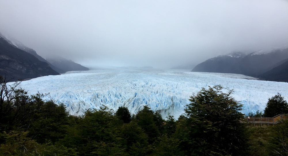 Looking down at the front of the Perito Moreno Glacier, you can see how massive it is and how far back it goes.