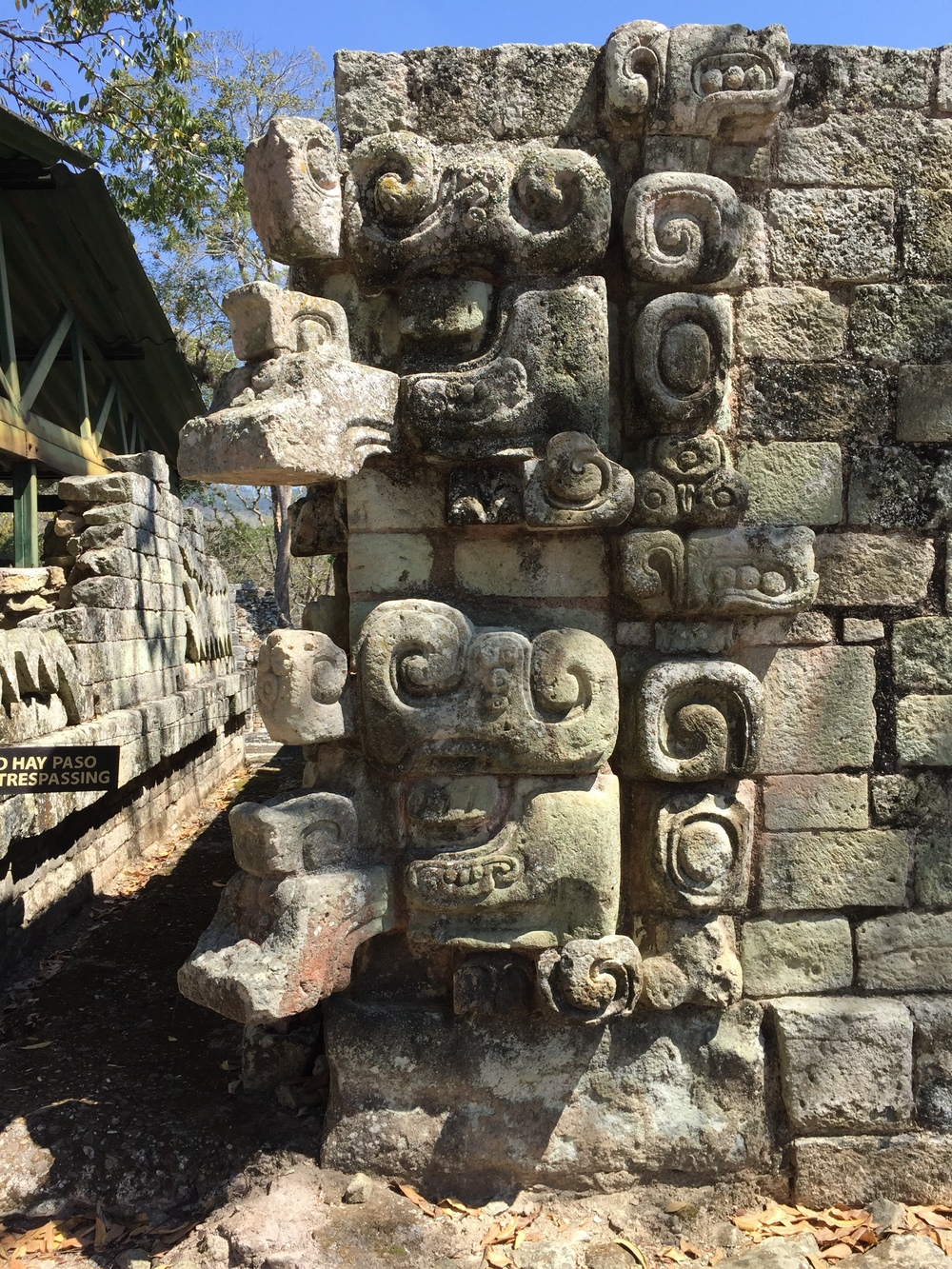 Close-up of stone carvings at Copán, Honduras.