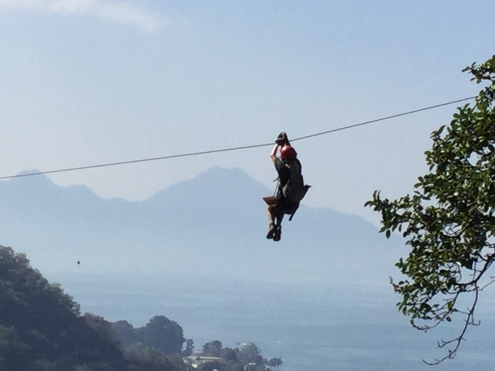 That's me ziplining through a native forest outside Pana, enjoying a terrific view of Lake Atitlan.