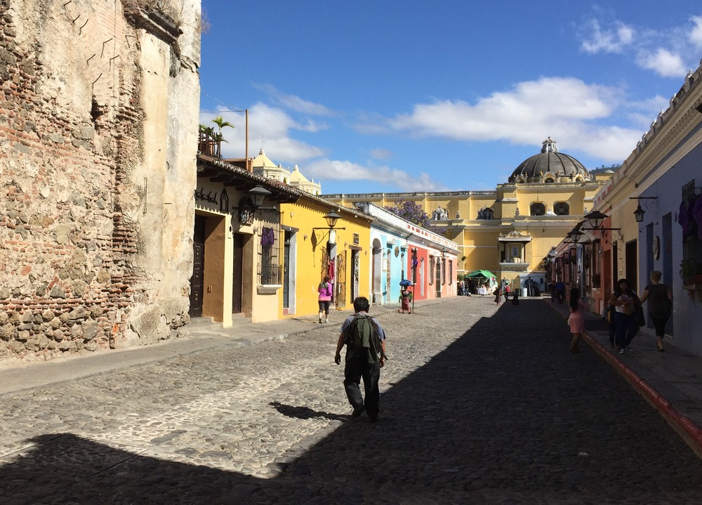 Typical cobblestone street in Antigua, Guatemala.
