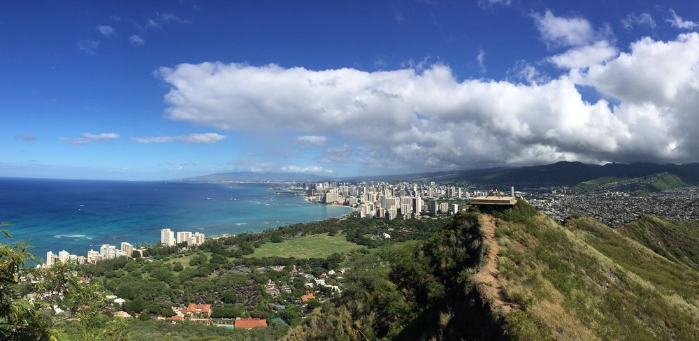 Waikiki viewed from the summit of Diamond Head. Waikiki and other coastal areas of the Hawaiian Islands will likely be under water due to sea level rise by the end of this century, unless major actions are implemented soon to mitigate climate change (photo Betsy Herbert, 2016)