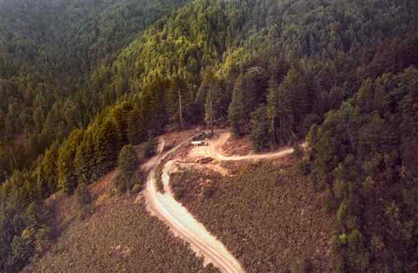An aerial view of Ramsey Gulch, made in fall 2002, an area 'thinned' by loggers in the southeastern corner of Santa Cruz County. (AP Photo/Redwood Empire, HO)