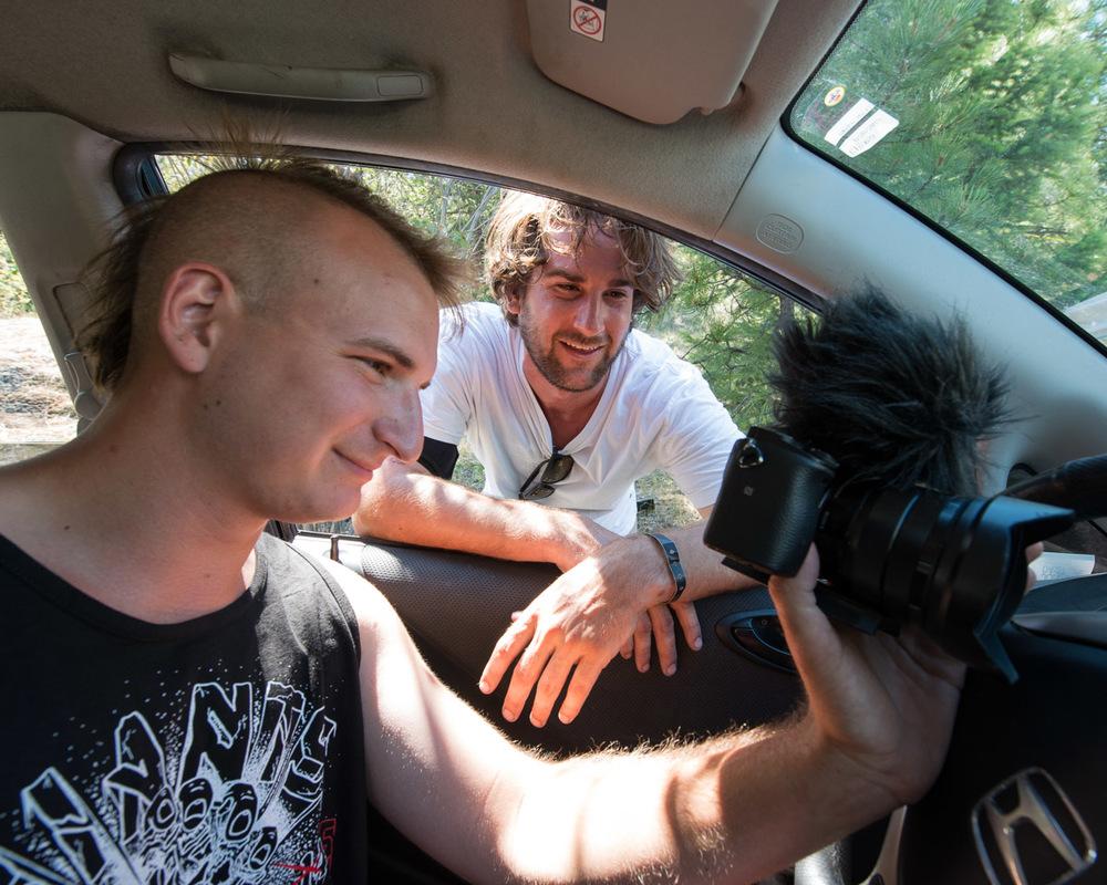 Alex and James review their handiwork. Photo: Jonah Rosenberg