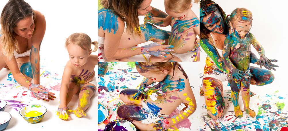 Jen & daughter Mia having some serious bonding time in a mess making session with Charlotte.