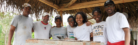 Group of local farmers with students during a trip to Central America with Sustainable Harvest International