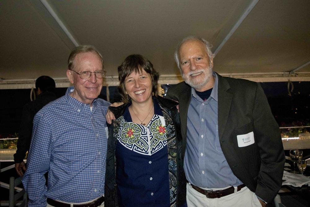 Steve Richards (Sustainable Harvest International Board Chair), Florence Reed (Sustainable Harvest International Founder + President), and Robert Shetterly (artist and activist)