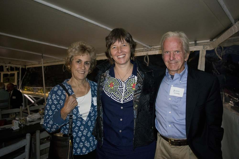 Dinner guests Barbara Damrosch (left) and Eliot Coleman (right) of Four Season Farm with Sustainable Harvest International Founder and President Florence Reed (center)