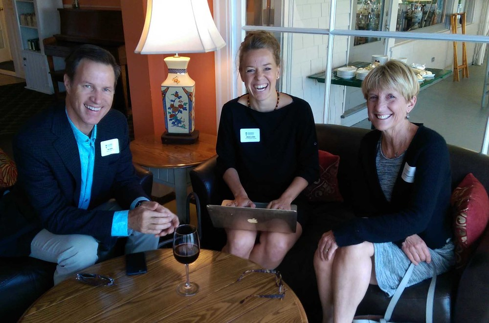 Tom Thomas (Board Member), Amanda Zehner (Field Program Director), and Charlotte Dougherty (Vice Chair of the Board of Directors) get one last meeting in before dinner starts!
