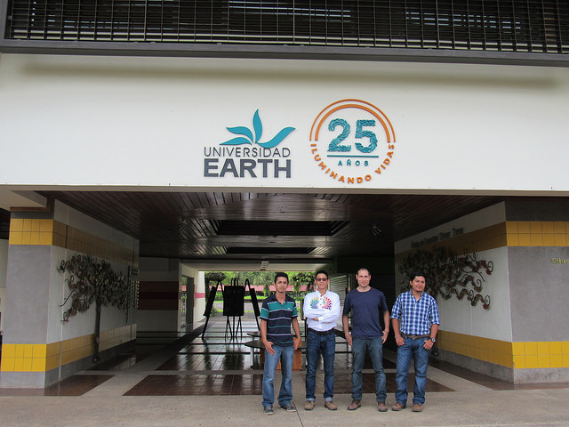 Introducing...our new interns from  EARTH University ! From left to right we have: Heinert (from Ecuador), Alexis (from Ecuador), Ricardo (our Program Impact Officer), and Abner (from Guatemala).