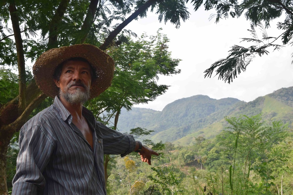 Joaquin points at some of the mountains he'd like to protect. - photo by Michele Christle