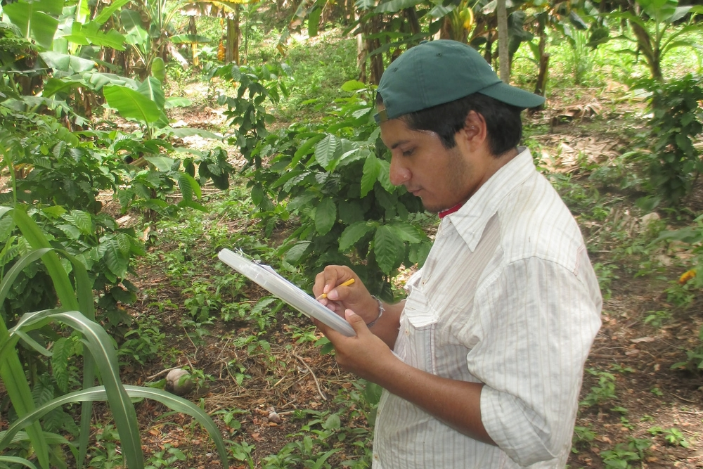 Abner verifying data in Calle Larga