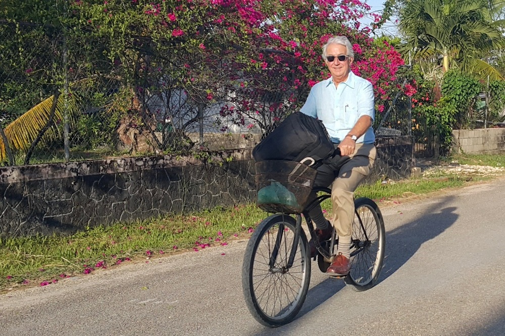 AfID volunteer Christopher Baker commutes to work at our office in Punta Gorda, Belize.