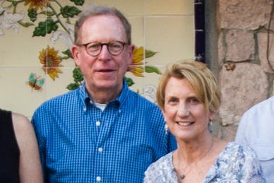 Former board chair Stephen Richards and incoming chair Charlotte Dougherty in Panama.
