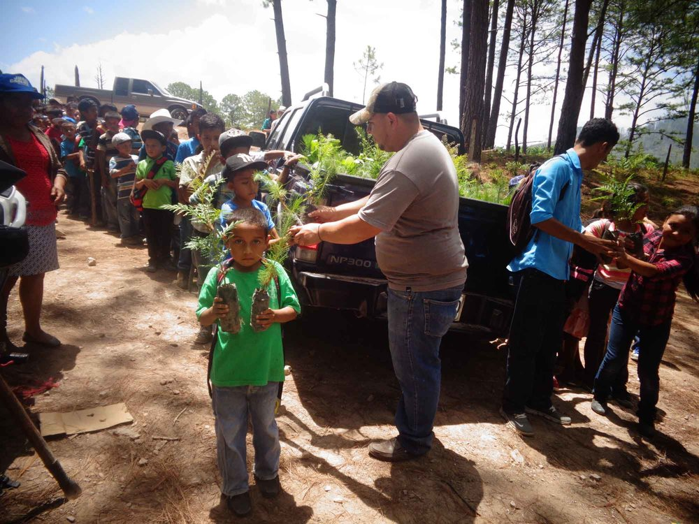 120 students and 25 teachers in La Laguna, Honduras took part in the reforestation effort. - photo by Obed Gomez