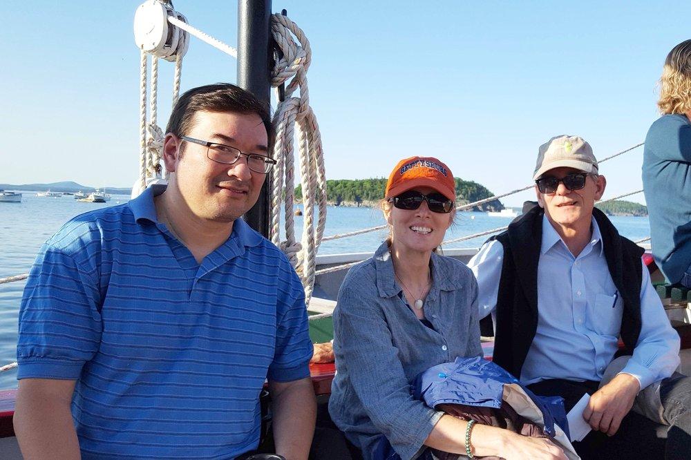 Board members Matt Hamada, Lisa Forbush Umholtz, and Jamie Dickinson enjoying a cruise in Bar Harbor, Maine.
