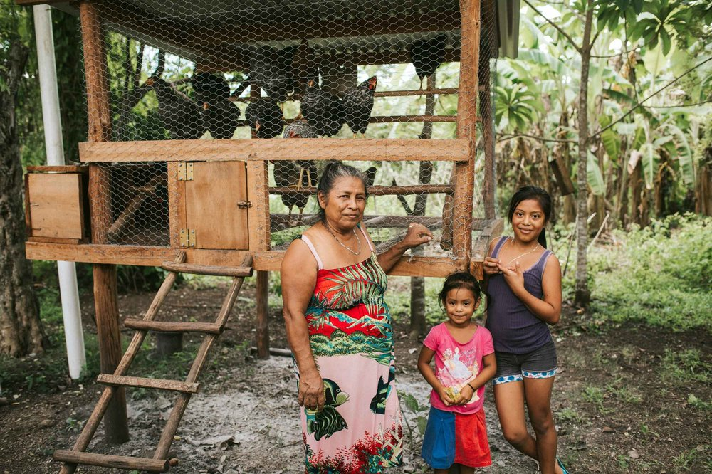 Josefa's grandchildren Minely (L) and Kathia (R) enjoy helping her collect eggs to eat and manure to fertilize the garden. Photo by Salt to Clay Photography