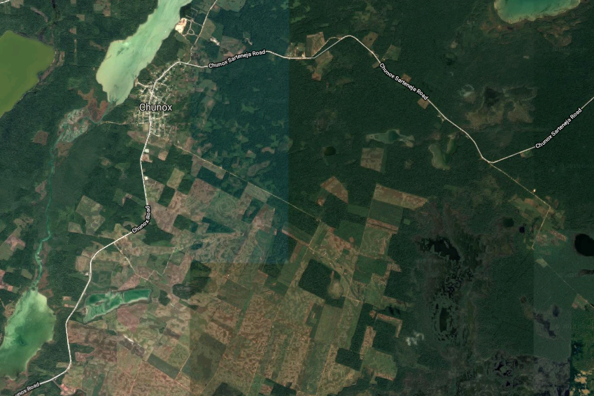 An aerial view of Chunox and the surrounding area show massive deforestation encroaching. Deforestation is one of the leading causes of climate change. Image courtesy of Google Earth.