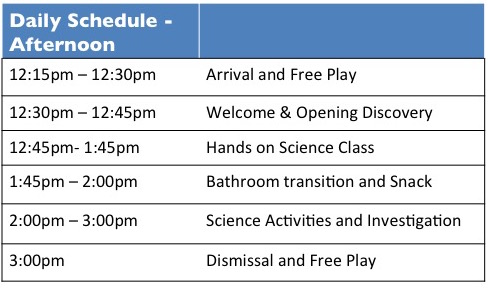 ISL - Preschool Schedule (Afternoon)