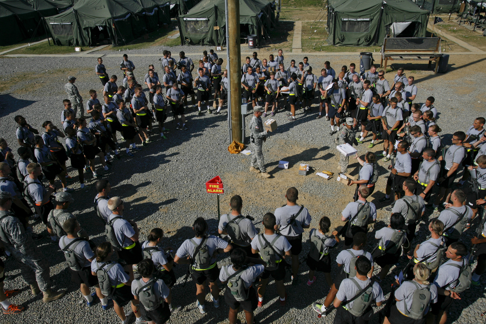 July 10 Cadets receive their weekly mail. They enjoyed frequent packages from home, but food was not allowed to be taken back to their tents.
