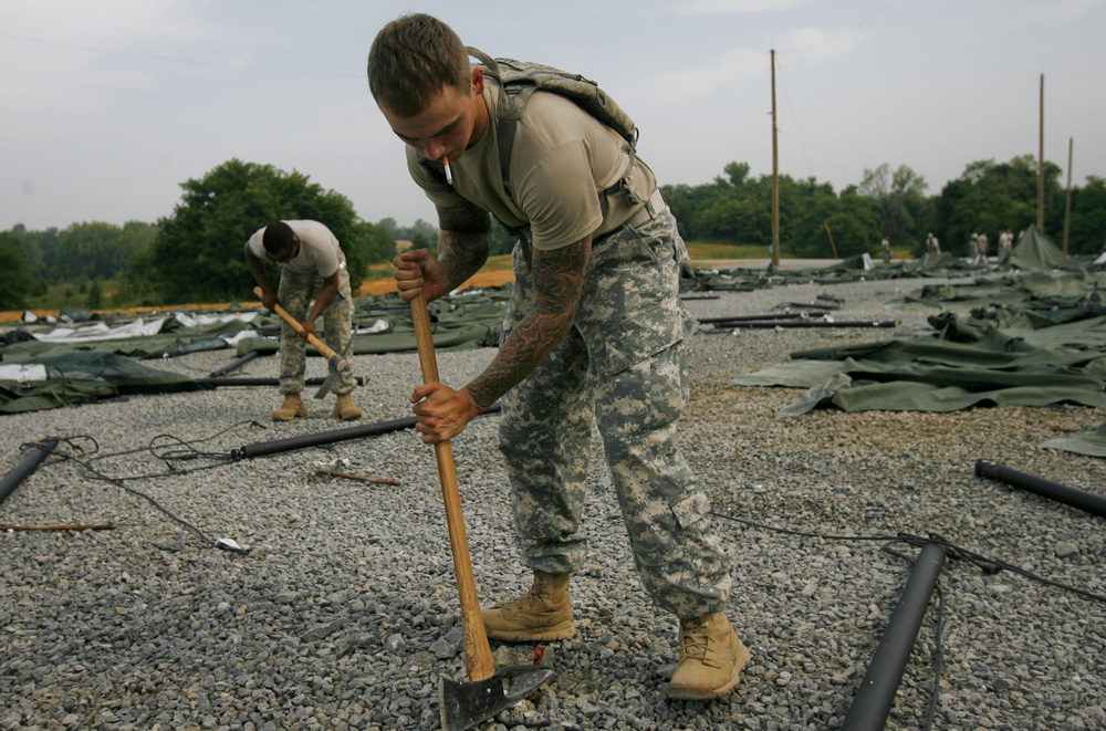 Aug 5 Staff Sergeant Michael Smith and fellow active duty soldiers take down LDAC's tents. Together they toppled the homes shared by thousands of rising cadets and packed away the last piece of LDAC history.