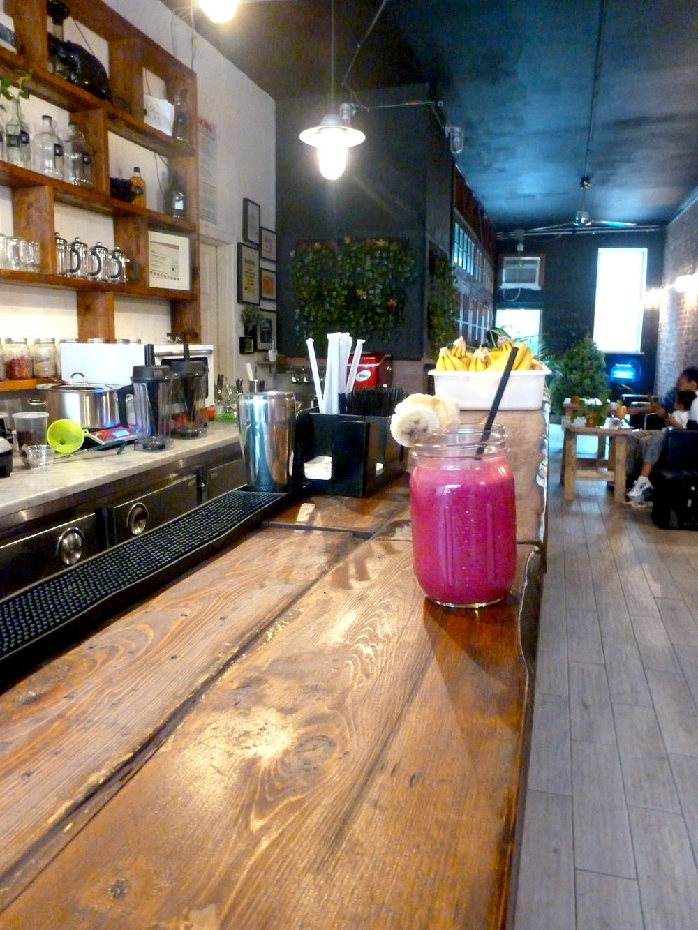 Berry Crunch smoothie awaits you on the bar at House of Juice