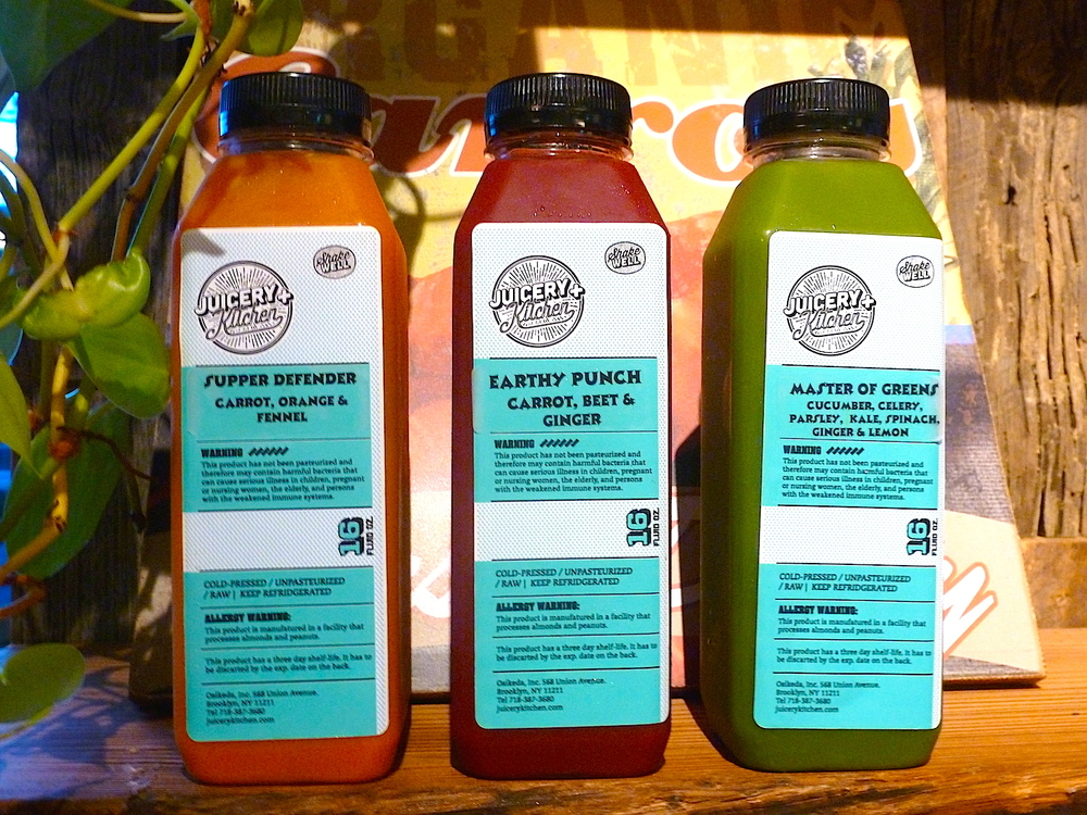 Variety of great juices at Juicery Kitchen